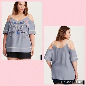 TORRID•embroidered cold shoulder top
